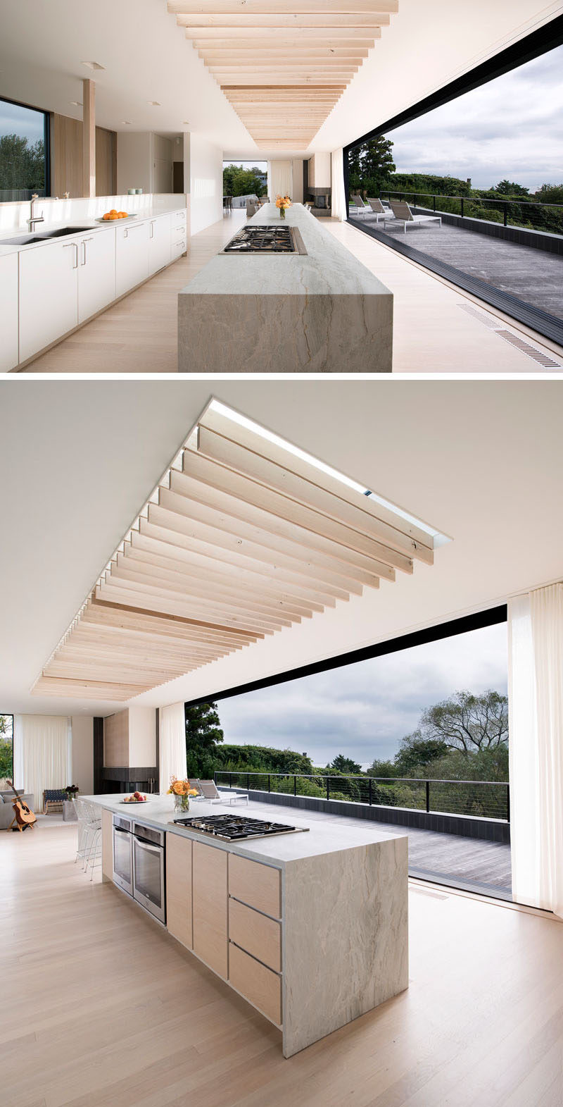 Inside this modern house, oak louvers on canvas hinges under an oversized skylight have the ability to sway in the ocean breezes, casting dynamic patterns of light and providing cooling shade, much like a tree's canopy. #ModernKitchen #Louvers #Skylight
