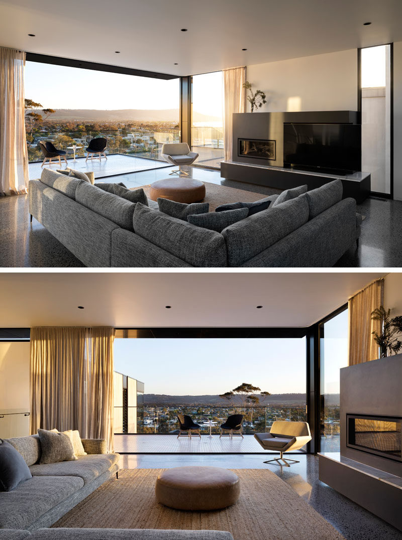 Inside this modern house, a neutral color palette has been used to create a relaxed atmosphere, while large sliding doors connect the living room with the balcony. #LivingRoom #InteriorDesign