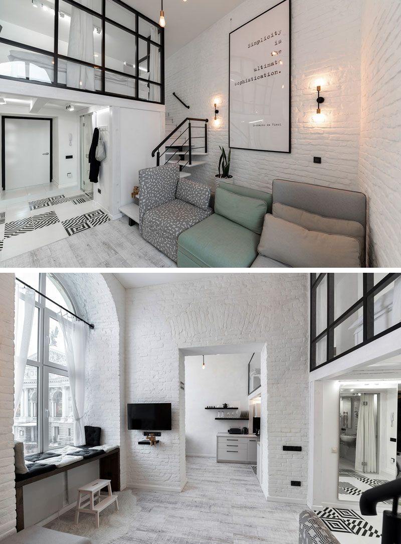This Distinctly Black And White Apartment With A Mezzanine