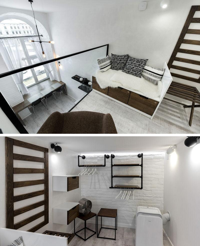 This modern mezzanine reading room doubles as a walk-in closet. #LoftApartment #Mezzanine