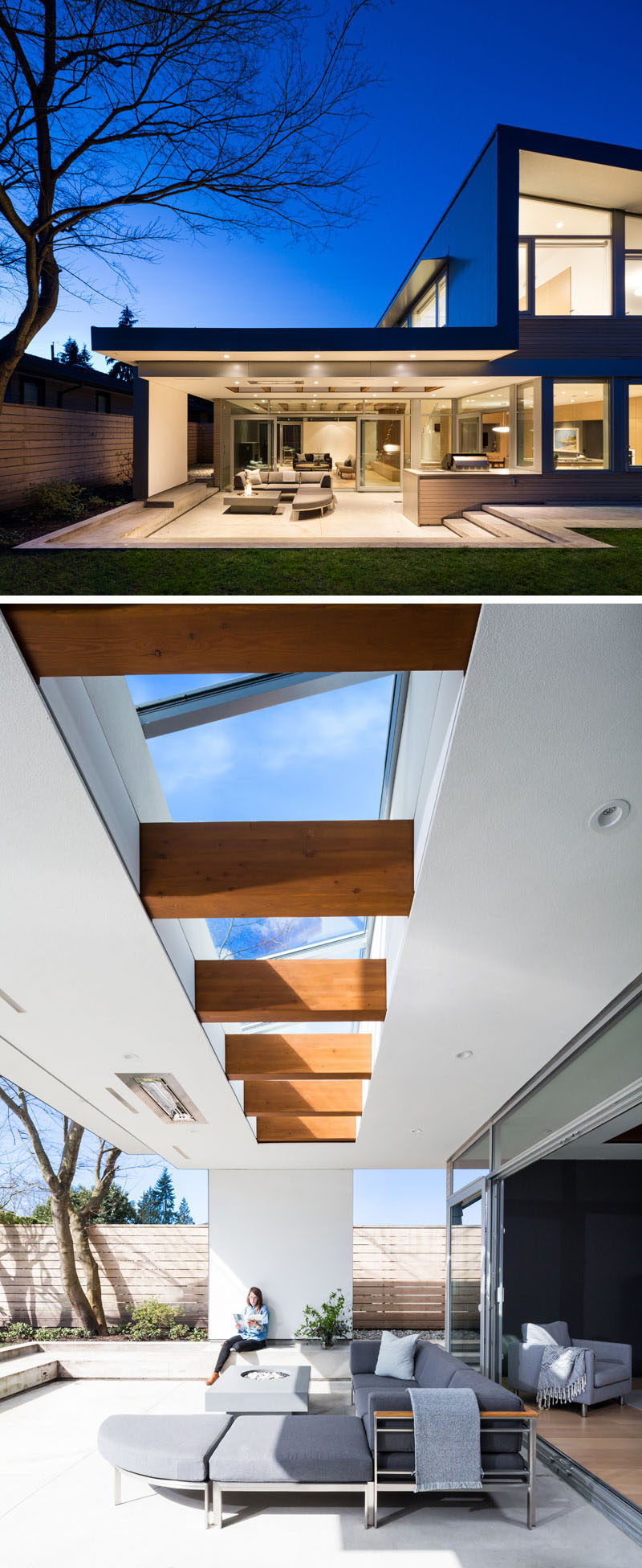 This modern house has large panes of floor-to-ceiling glass allow for a seamless integration between the interior and exterior space. The covered outdoor space makes use of a skylight that shows off the beams that continue through to the patio. #ModernHouse #Patio #Beams #Skylight #OutdoorSpace