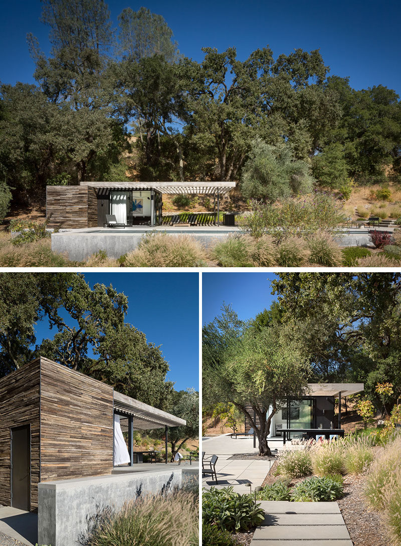 RO|ROCKETT DESIGN have completed a modern pool house as part of arustic retreat for a couple inGeyserville, California. #PoolHouse #ModernArchitecture #SwimmingPool