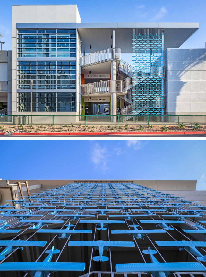 Artist Mark Reigelman II has designed three permanent site-specific installations at San Diego International Airport, that consist of screens that showcase various plane designs. #Art #Sculpture #PublicArt