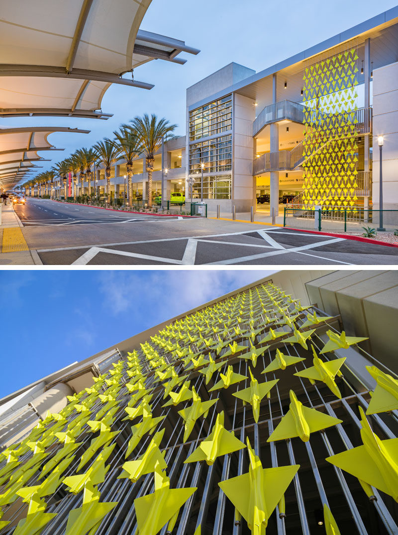 Artist Mark Reigelman II has designed three permanent site-specific installations at San Diego International Airport, that consist of screens that showcase various plane designs. #Art #Sculpture #PublicArt