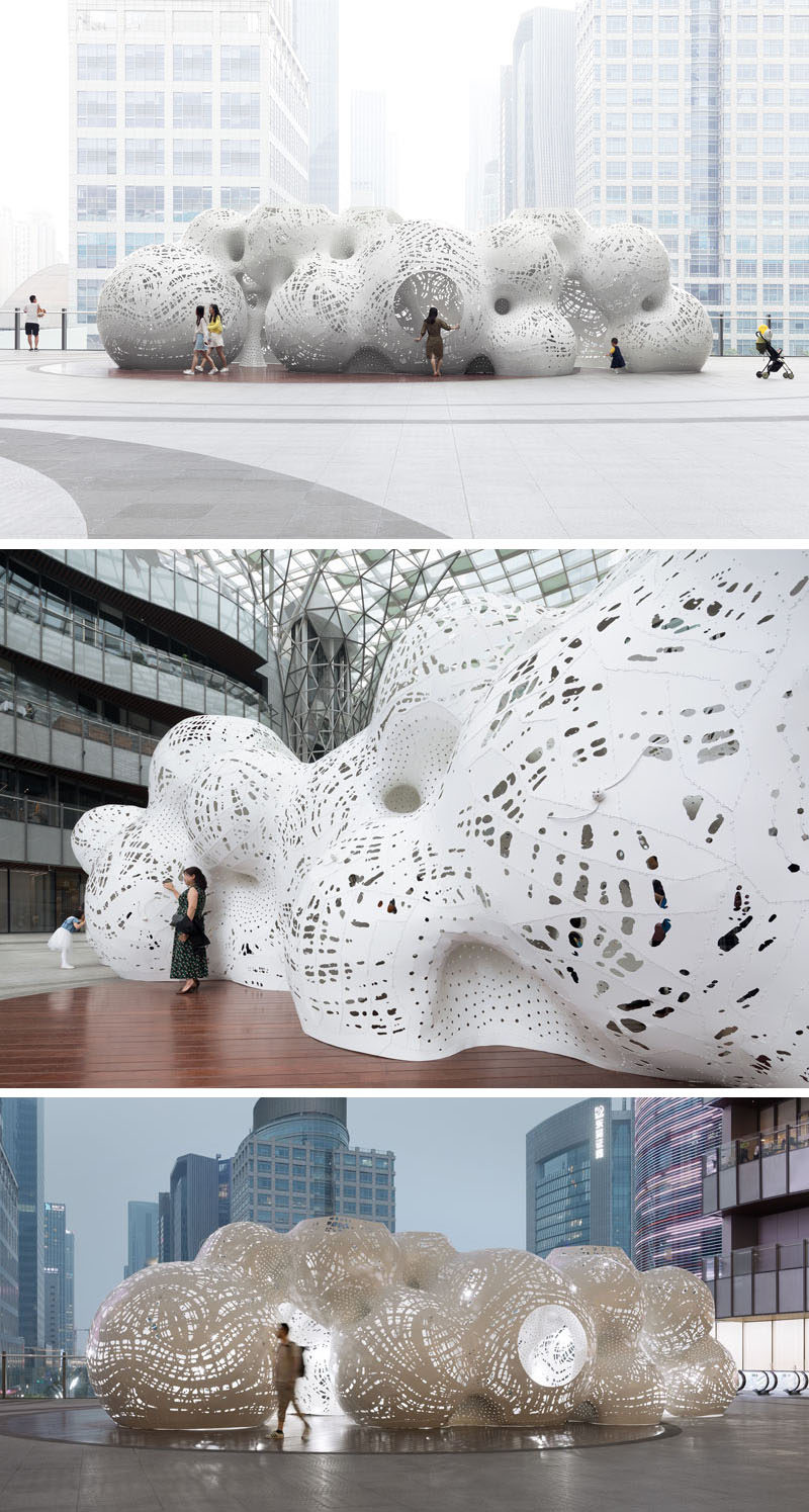 MARC FORNES / THEVERYMANY designed a large-scale sculptural outdoor pavilion on the elevated plaza of the Suzhou Center in China, as part of the Jinji Lake Biennial. #Art #Sculpture #PublicInstallation