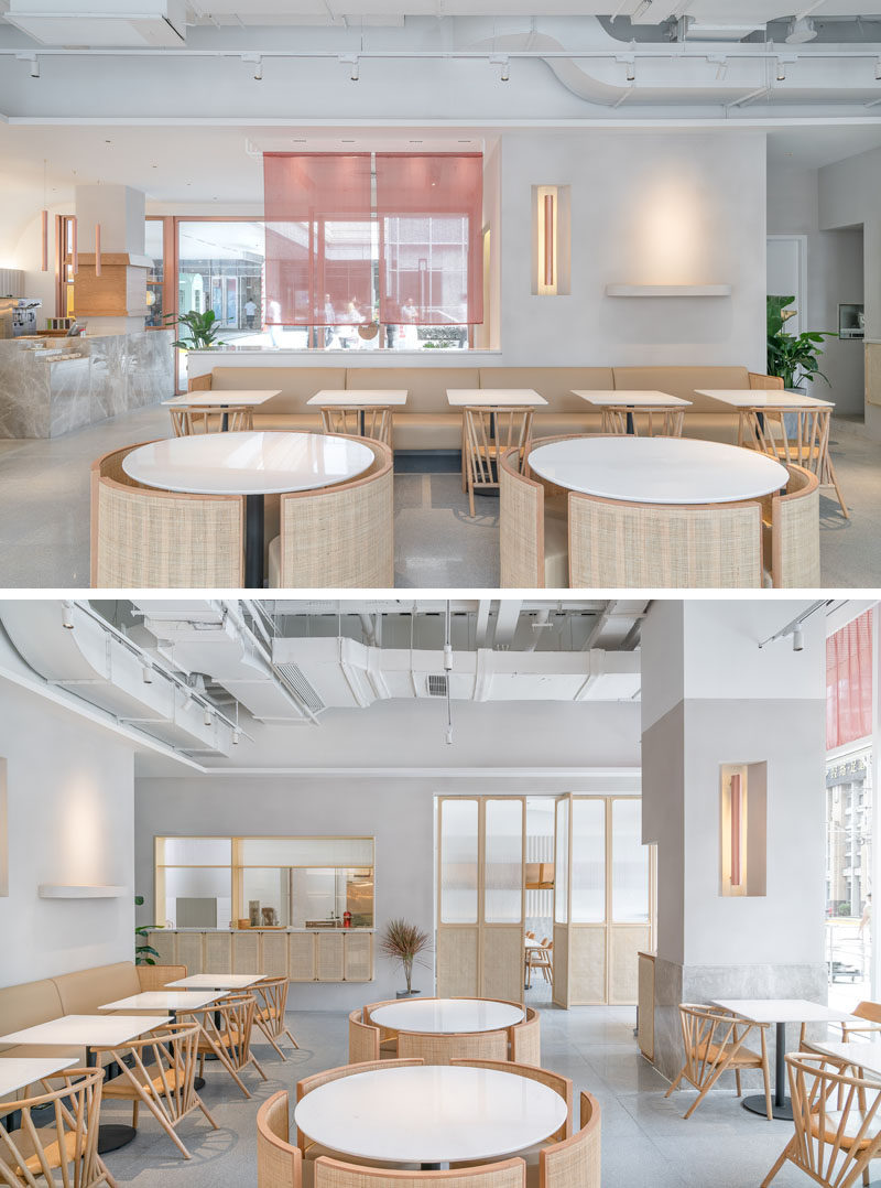 """OFFICE COASTLINE have recently completed a new modern tea house in the city of Shanghai, China, for thelife-style brand """"Genshang"""". #InteriorDesign #CafeDesign #TeaHouse #ModernRestaurant"""