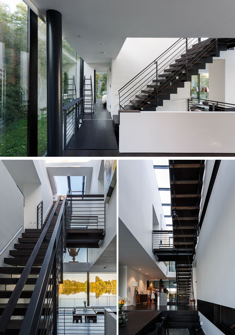 In this modern lakehouse, a staircase connects all the rooms together into one interior space, and a central atrium brings abundant daylight into the sunken basement and connects the interior to the roof terrace. #Stairs #Staircase