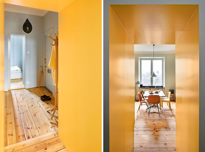 This renovated apartment has a yellow hallway. #Hallway #Yellow