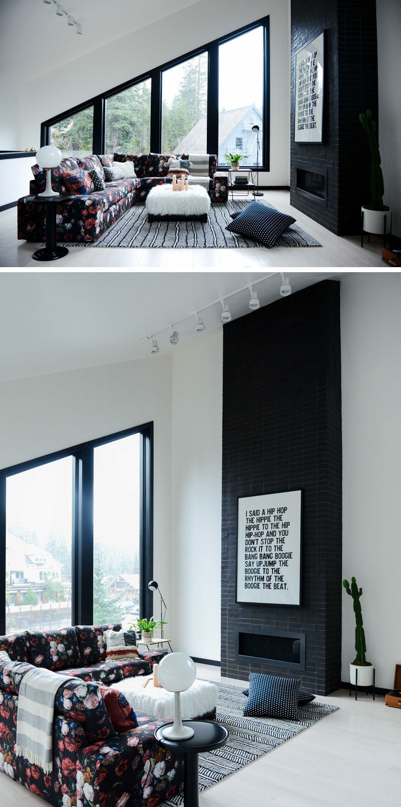 In this modern living room, the high ceilings make the space feel larger, while the angled windows allow plenty of natural light, and a black fireplace complements the black window frames. #LivingRoom #Windows #Fireplace