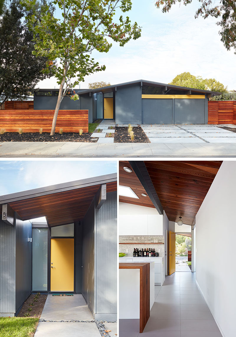 Klopf Architecturehave completely remodeled this once dark Eichler house in Palo Alto, California, creating a more open, bright and functional family home. #EichlerRemodel #YellowFrontDoor