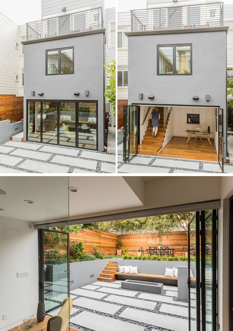 The exterior view of this house extension shows off the new bonus room, that's connected to the backyard with the use of a sliding door system by Nanawall. #GlassWall #GlassDoors #HouseExtension