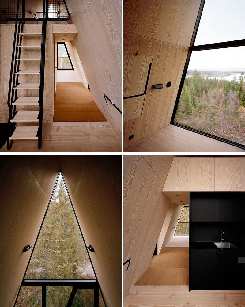 The design of the PAN Treetop Cabins, which are a place for tourists to stay, were inspired by the forest, North American A-Lodges, modern power lines, and the Moomin character houses. #Architecture #ModernCabin