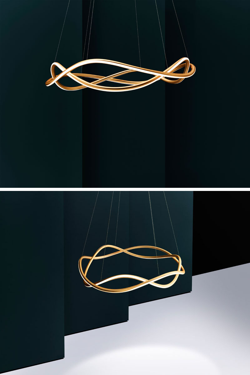 London-based lighting studio Luum, have designed their latest chandelier named Aurora, that features a formed aluminum body and Japanese 3D tube-bending technology. #ModernChandelier #ModernLighting
