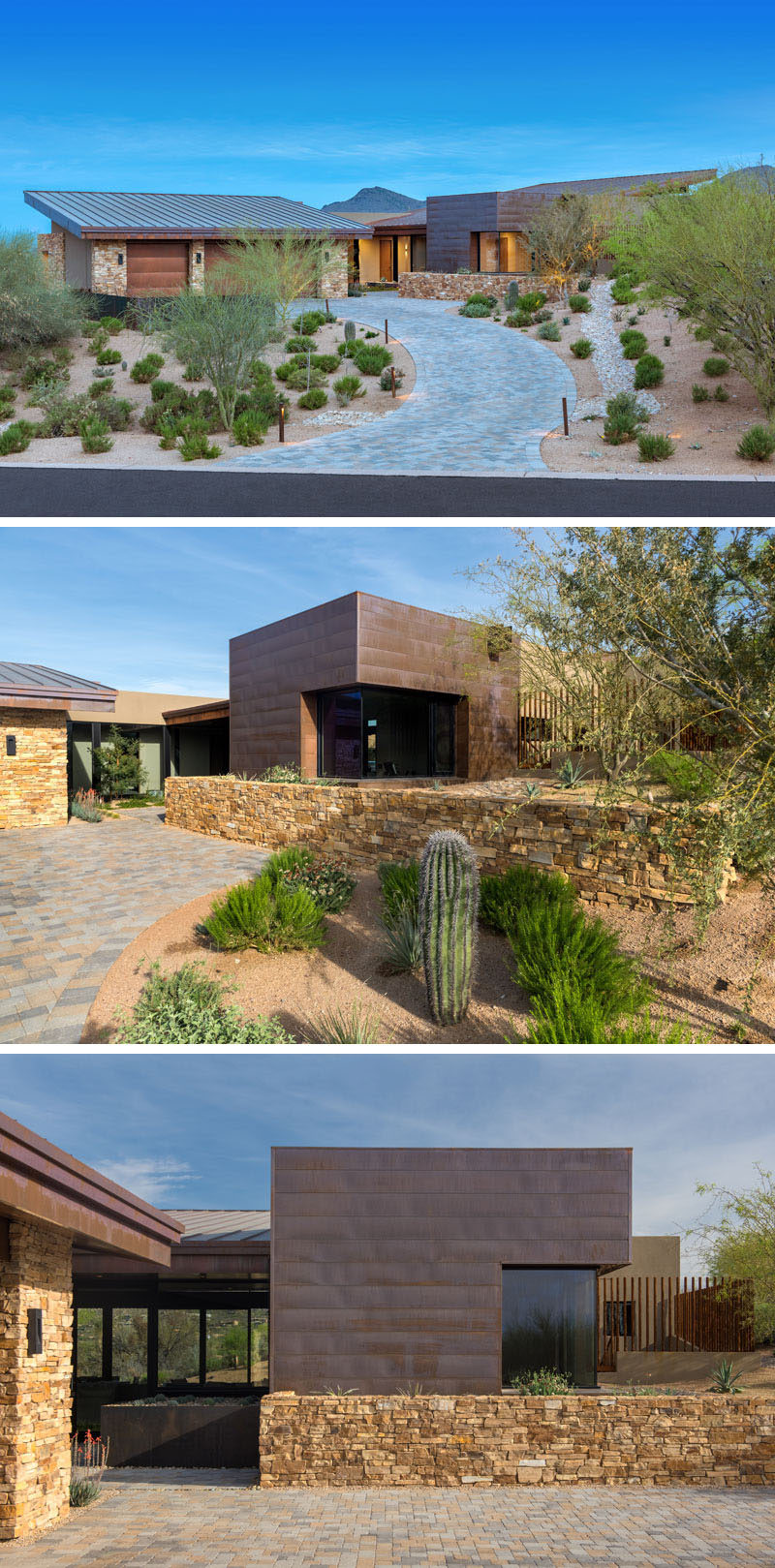 Surrounded by desert, this modern house has a simple driveway, flanked by minimal landscaping on either side, leading from the road up to the garage and entrance. #ModernHouse #Landscaping #DesertLandscaping