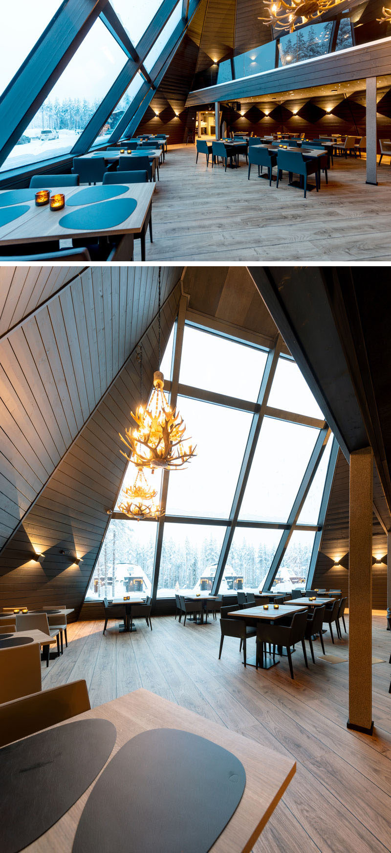This modern restaurant opens up to a large room with high ceilings, a mezzanine level, and large sloped windows that provide a view of the outdoors and an abundance of natural light. #Restaurant #Windows