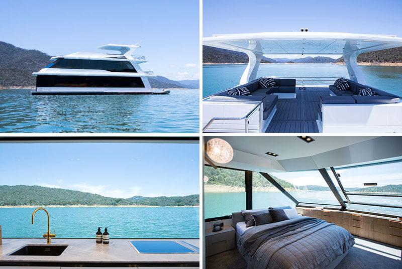 Lisa Larkin Design has shared their latest project, the interior design of a modern houseboat that resides onLake Eildon in Australia. #ModernHouseboat #ModernBoatInterior #BoatInterior