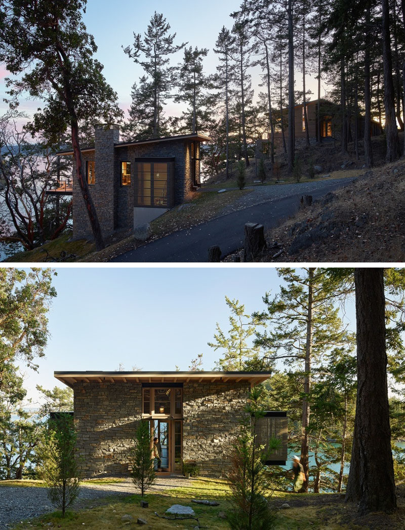 Hoedemaker Pfeiffer have designed a main house and a guest house that take full advantage of the sweeping views of Puget Sound, with the main home sited on a small plateau high on top of a steeply-sloping hillside. #Architecture #ModernHouse #HouseDesign