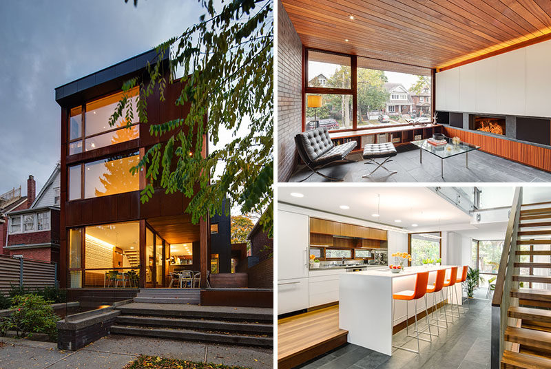 Altius Architecture have designed a contemporary house in Toronto, Canada, that features three stories at the front of the house and four stories at the back. #Architecture #InteriorDesign #ModernHouse