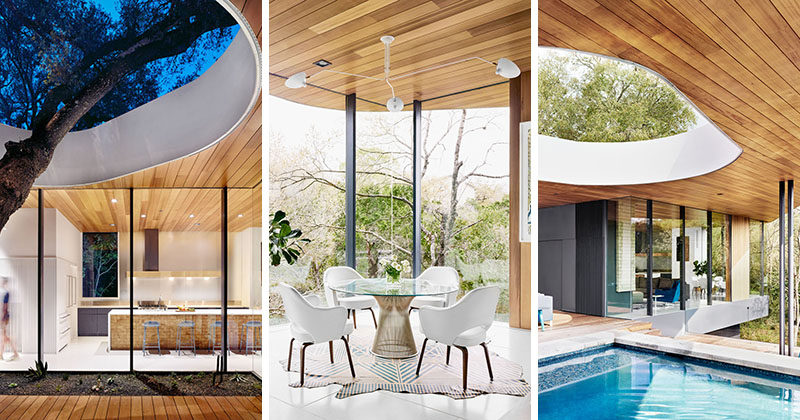 Austin-based firm Alterstudio Architecture, have completed a new home for a family of four, that features a dramatic entryway and a bright interior. #ModernHouse #HouseDesign #Architecture