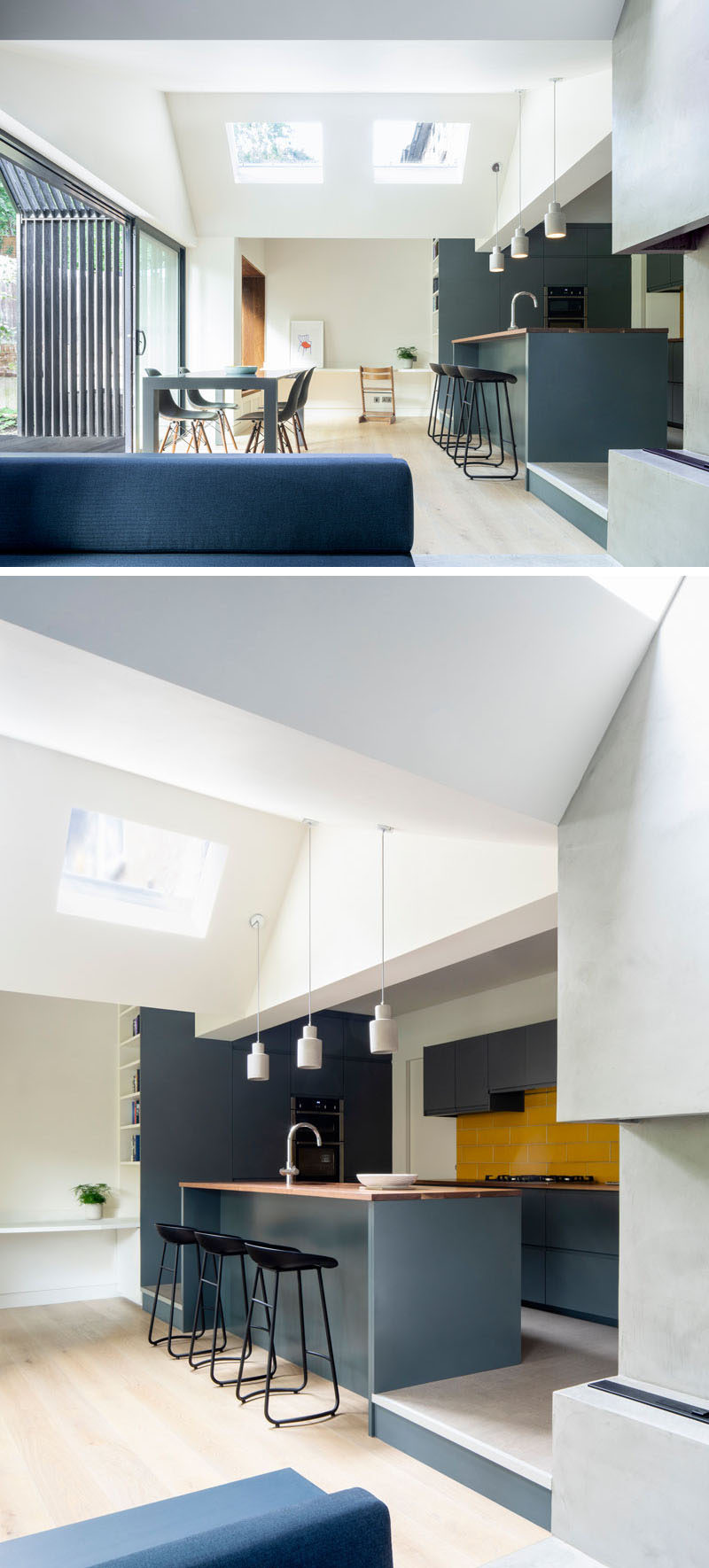 Skylights in the roof add natural light to the dining and kitchen area of this modern house extension. The kitchen is slightly raised, while a bright yellow backsplash adds a pop of colour. #Kitchen #Extension #DiningRoom #Skylights