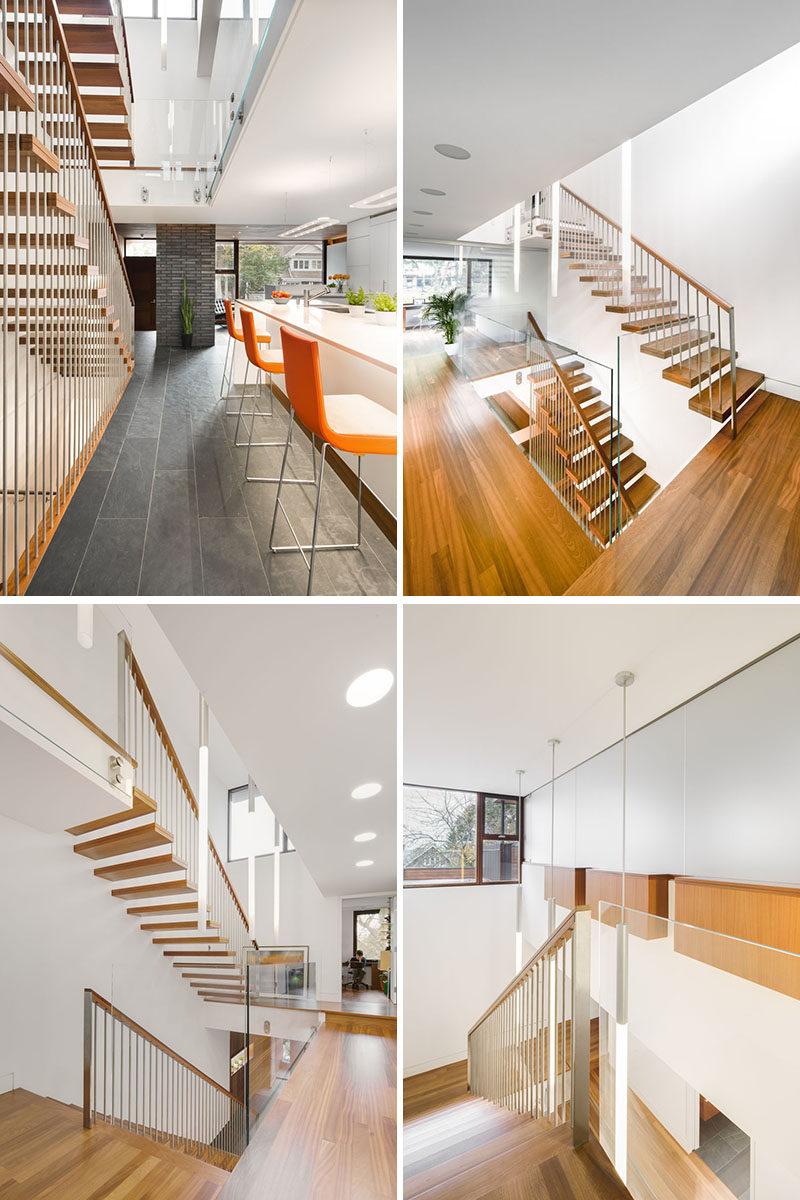 This modern house has an atrium style staircase adjacent to the kitchen, which brings light into the home. #Stairs #Staircase