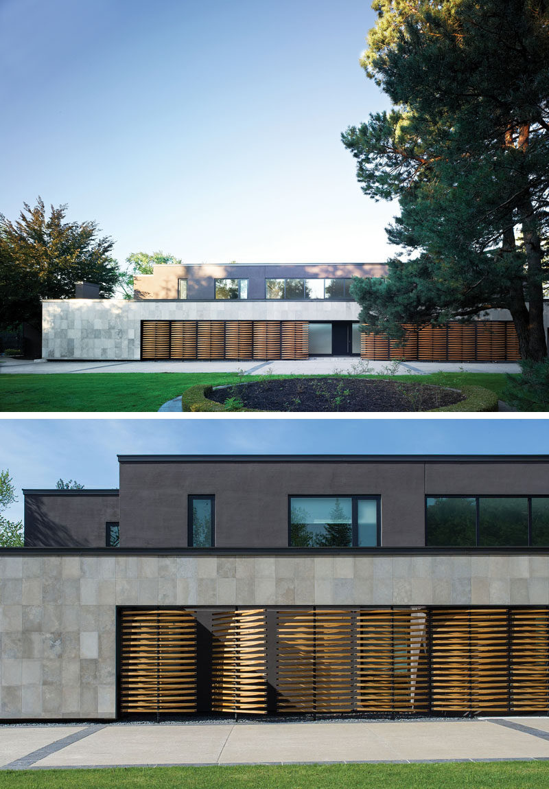 This modern house features a facade with a large limestone wall, that surrounds an array of delicate wood screens that have been used to create privacy for guest bedrooms. #WoodScreens #Architecture #ModernHouse