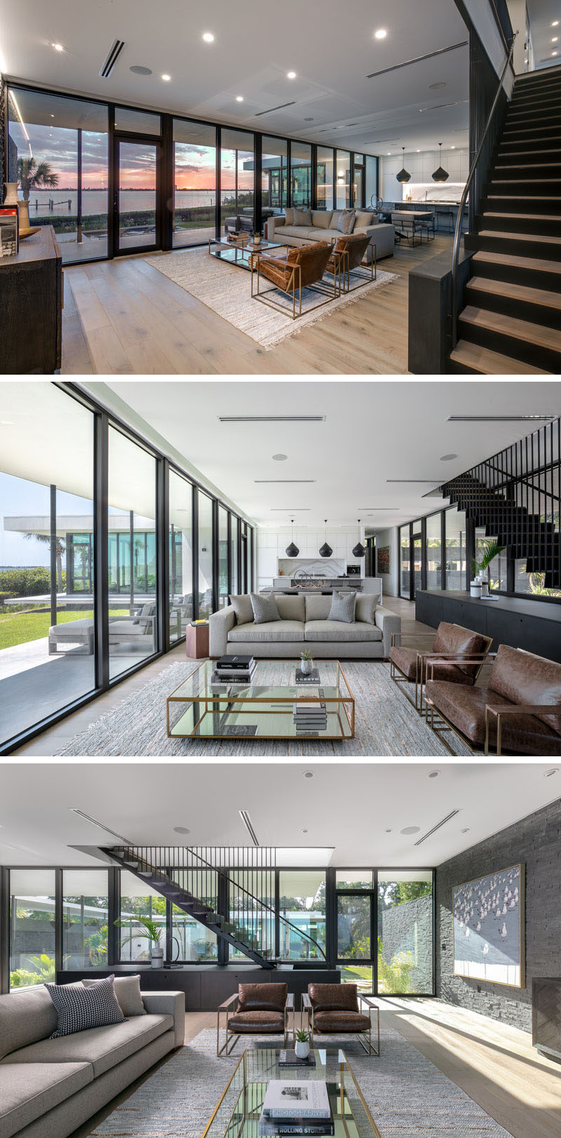Inside this modern house, the great room is home to the living room, dining room, and kitchen. #GreatRoom #OpenPlan #InteriorDesign