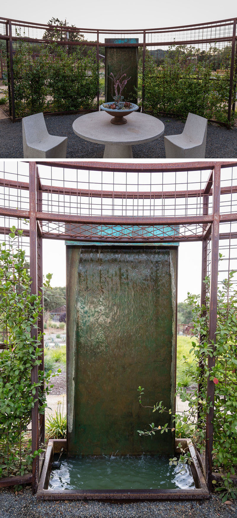 For intimate gatherings, this backyard has a small sitting area with a water feature, is surrounded by a curved steel trellis, creating a sense of privacy from the rest of the garden. #WaterFeature #Garden #Landscaping #SittingArea