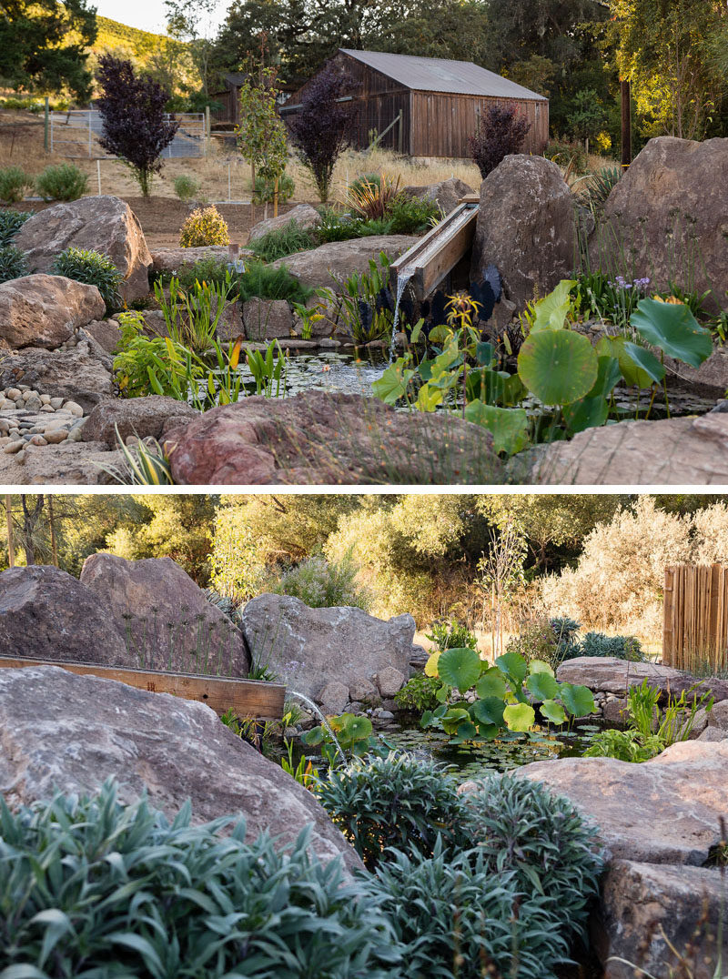 This backyard has a small pond surrounded by boulders, that showcases plants and a water feature. #Pond #WaterFeature
