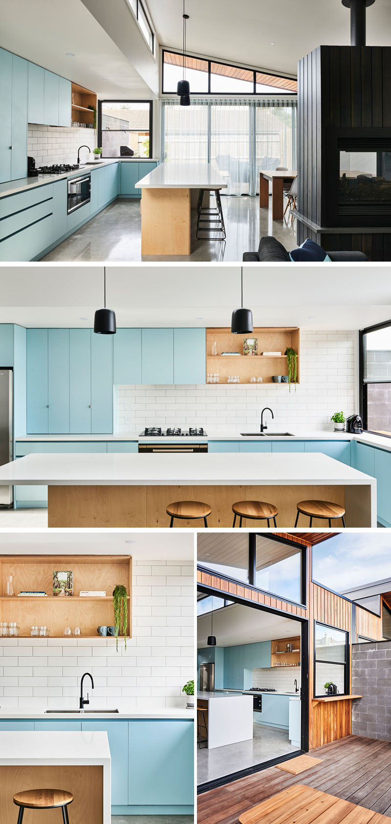 In this modern kitchen, matte light blue cabinets are paired with a white tile backsplash, plywood open shelves and island, and light Caesarstone countertops. #KitchenDesign #ModernKitchen #BlueKitchen