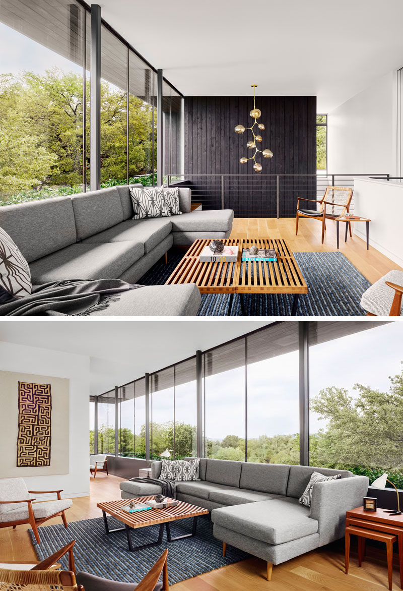 This modern living room is flooded with natural light from the large windows. #Windows #LivingRoom