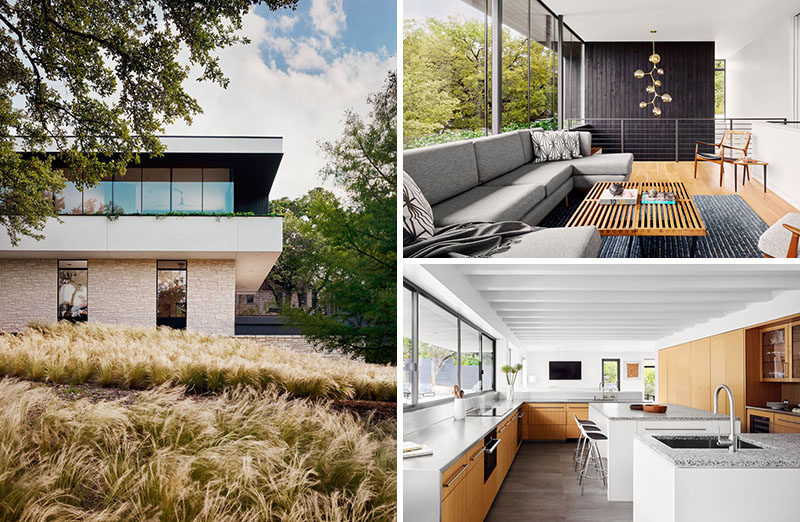 Specht Architects have recently completed the renovation of a 1955 suburban ranch home in Austin, Texas, that also included a new second storey addition. #ModernHouse #HouseDesign #Architecture