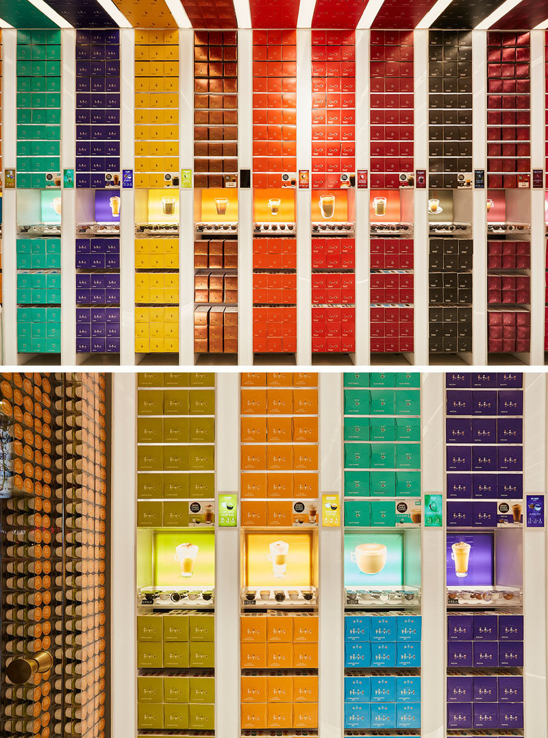 The walls of this retail store are covered in colored coffee capsule boxes, creating a rainbow-like appearance and showcasing the variety of options available. #RetailStore #StoreDesign