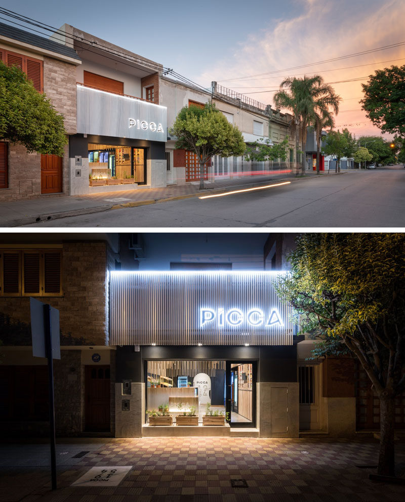 Argentinian firm EFEEME Arquitectos have designed PICCA, a small and modern retail store in the city of Villa María, Córdoba, that sells pasta. #RetailStore #StoreDesign #StoreFacade