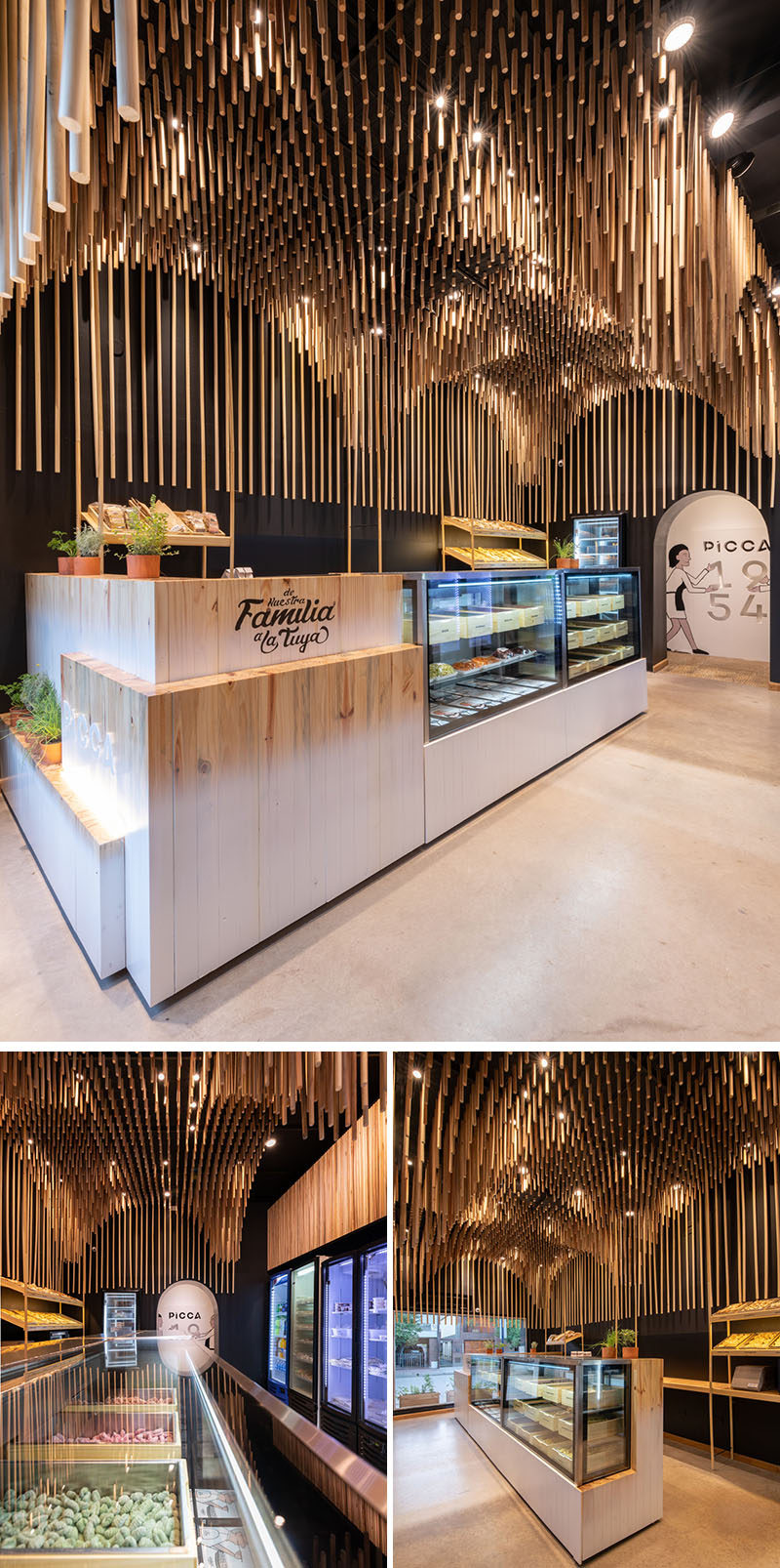 This modern retail store features 1954 broomsticks (commemorating the year of the founding of the family business), that were used to create a sculptural wood ceiling installation. #ModernRetailStore #StoreDesign #WoodCeiling