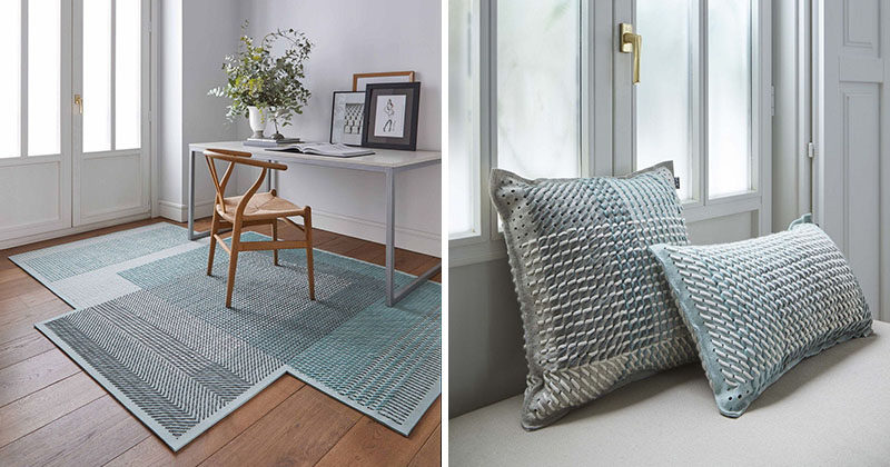 Charlotte Lancelot has collaborated with GAN to create Canevas Geo, a collection of rugs and cushions that featured traditional embroidery stitches in contemporary colors. #HomeDecor #ModernRug #ModernCushions #InteriorDesign #Decor