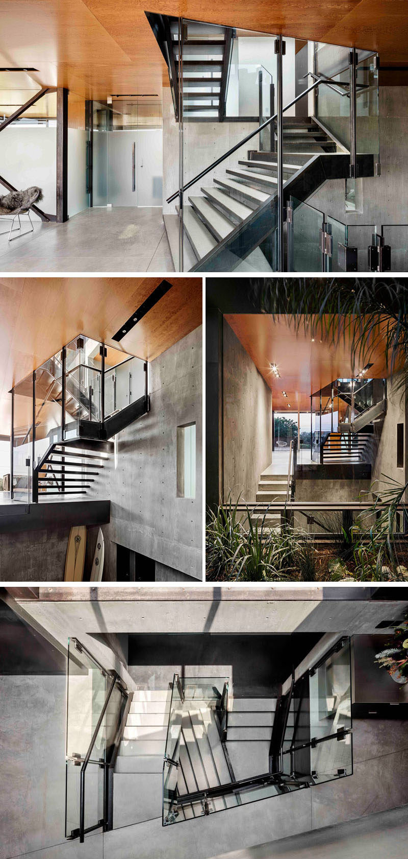 Connecting the various levels of this modern house is a central staircase that cuts up through the home, with a skylight above that allows daylight to penetrate the home and light it from within. #ModernStairs #ModernStaircase