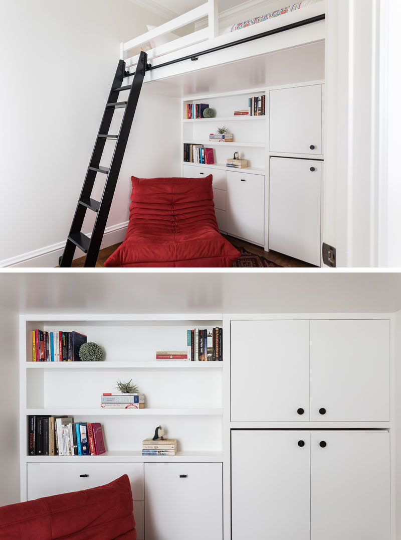This modern remodel of a child's bedroom includes custom casework to maximize usable space and a lofted bed accessed by a rolling ladder. #KidsBedroom #LoftBed #BedroomDesign