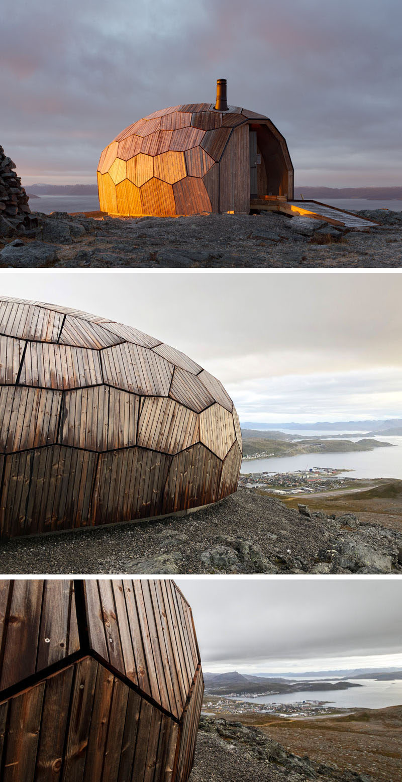 A series of Norwegian day-trip cabins have been designed with an egg-shaped, faceted stone-like appearance made from wood. The rounded shape naturally helps to clear snow, and reduce wind pressure. #Architecture #Cabin