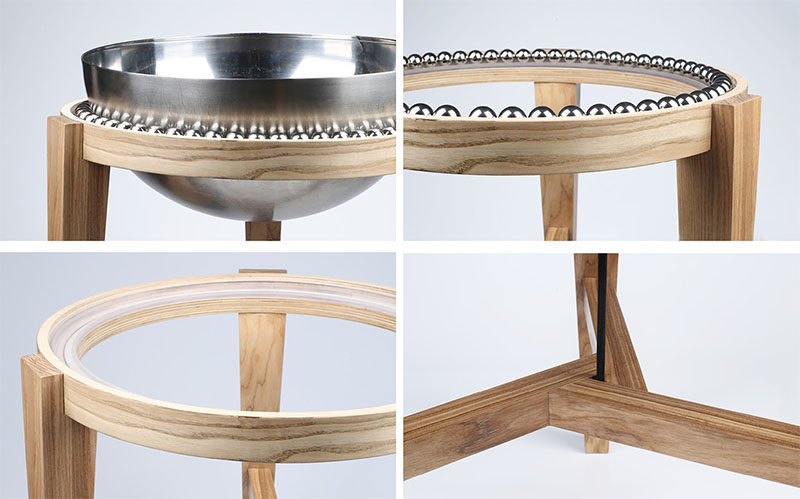 Polish industrial design student Weronika ?ytko, has completed OVINI, a small balance stool that makes use of steel ball bearings to create a tilting seat. #Design #Seating #Furniture