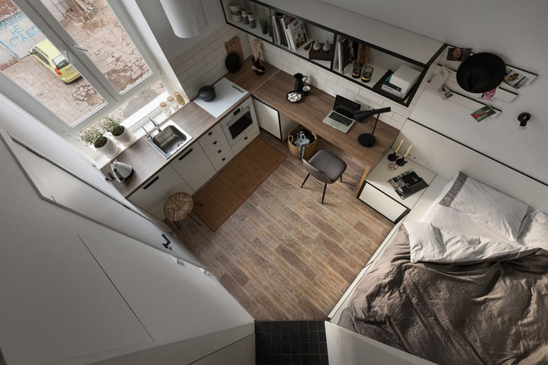 Fateeva Design have created the layout for a small apartment in Ukraine, that measures in at just 186 square feet. #SmallLiving #SmallInterior #SmallApartment
