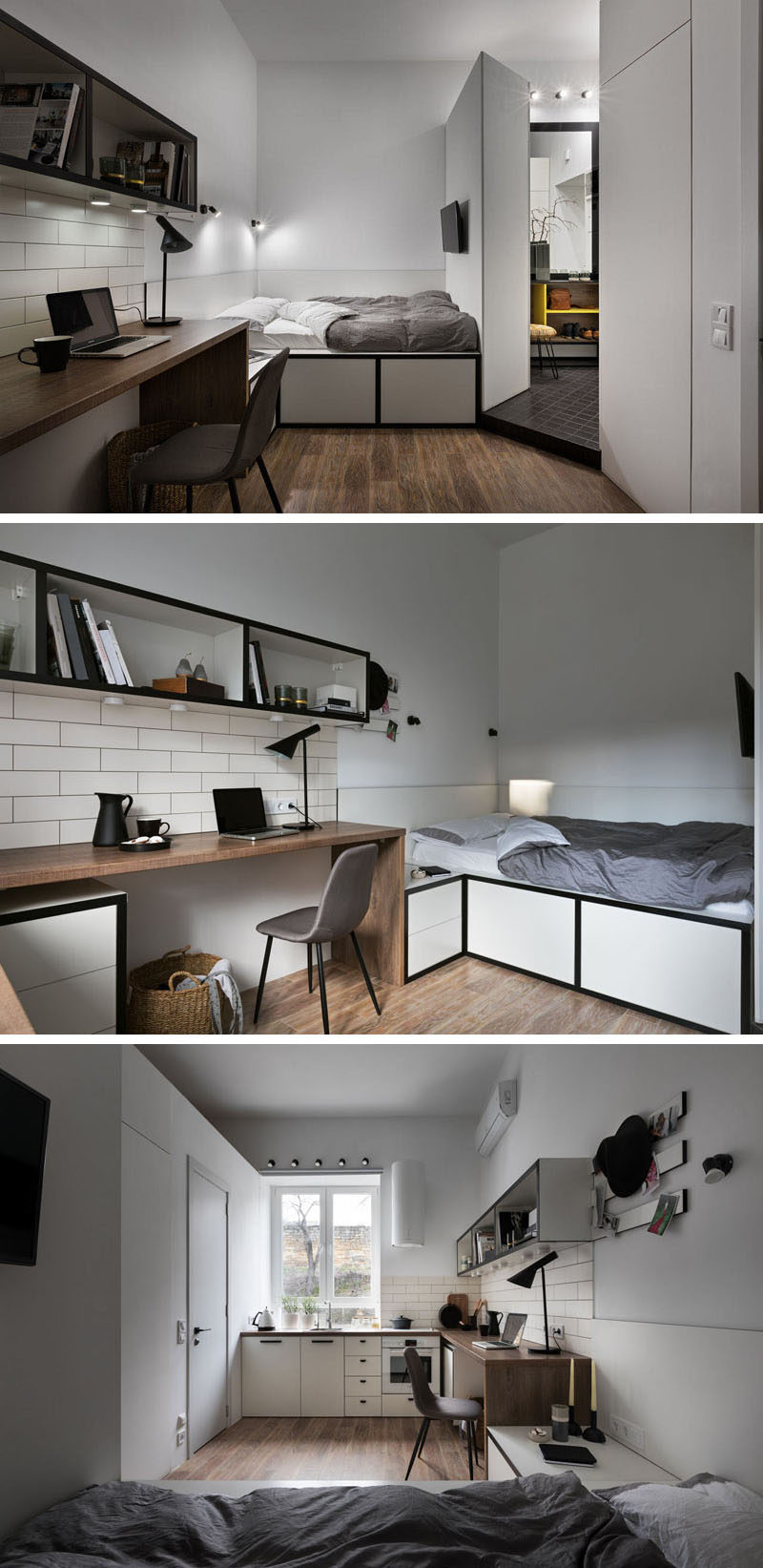 The bed of this tiny apartment has been slightly raised to provide storage beneath it, while a wall-mounted television allows the bed to be also used as a place to watch TV. #SmallApartment #TinyLiving #ModernApartment