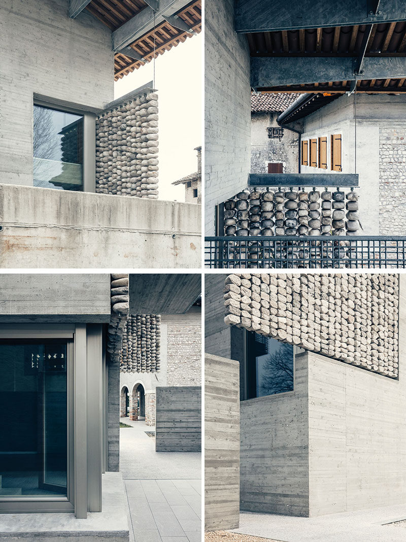 This renovated concrete house features stone curtains that add interest to the facade of the home, and create interesting patterns inside when the sunlight hits them. #Architecture #Facade #Stone