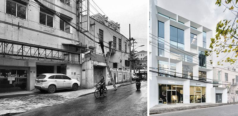 BEFORE & AFTER - Lacime ARCHITECTS has transformed a property with several run down buildings in Shanghai, China, and changed it into a bright and welcoming office building with commercial spaces. #Architecture #BuildingDesign