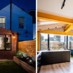 A Brick Extension With Bright Yellow Beams Was Added To A London Terrace House