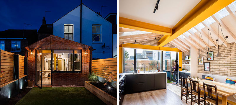 Bold yellow steel, oversailing timber rafters, and plywood enclosures form warm and playful spaces in this rear extension of a London terrace house by Woodrow Architects. #HouseExtension #BrickExtension Visit Woodrow Architect's website here > https://www.wdrw.co.uk