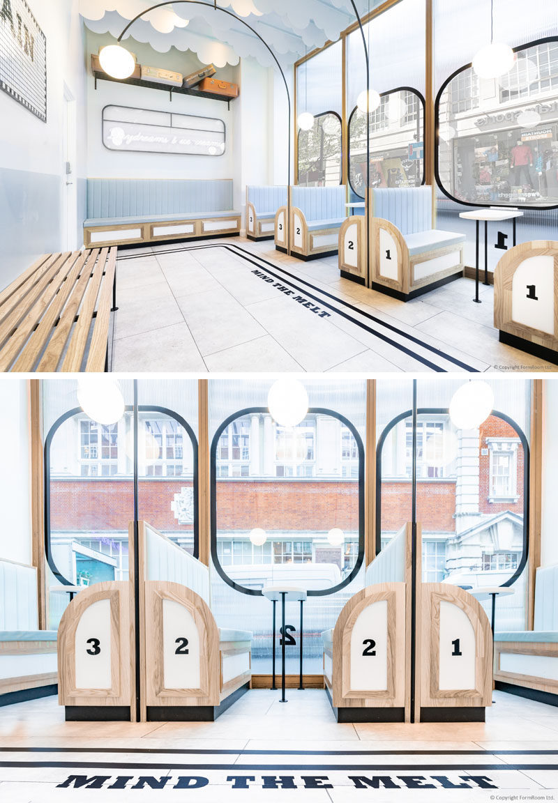 FormRoom have designed 'Milk Train', a modern ice cream cafe that's inspired by the design of the British underground trains and their stations. #ModernCafe #CafeDesign #InteriorDesign