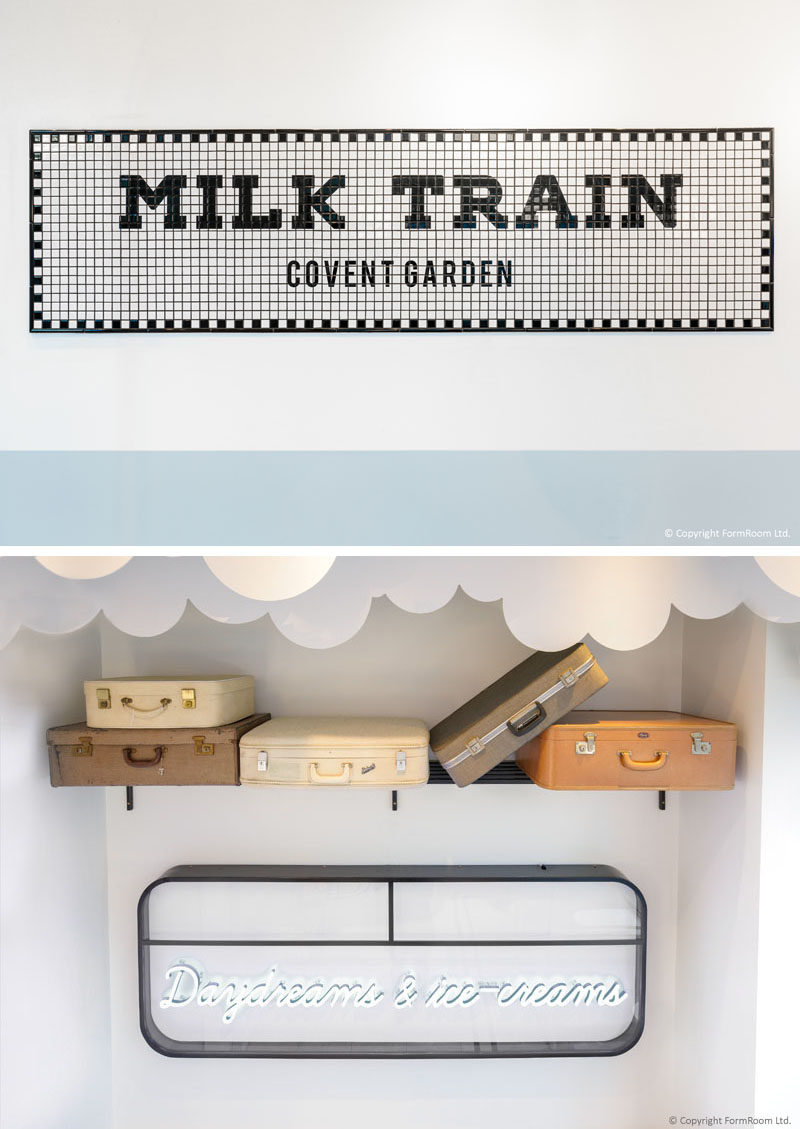 FormRoom have designed 'Milk Train', a modern ice cream cafe that's inspired by the design of the British underground trains and their stations. #ModernCafe #CafeDesign #InteriorDesign #Signage