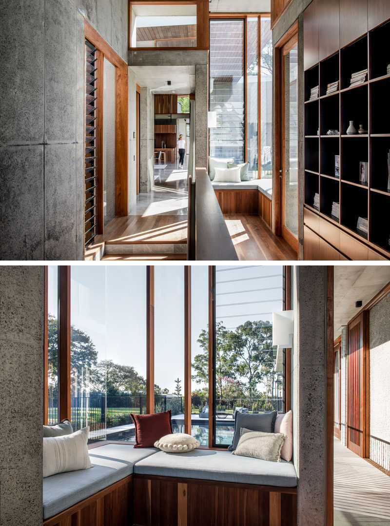 This modern house features a built-in corner seat that looks out onto the pool area, while louvre windows allow the breeze to flow throughout the home. #WindowSeat #CornerSeat #Windows