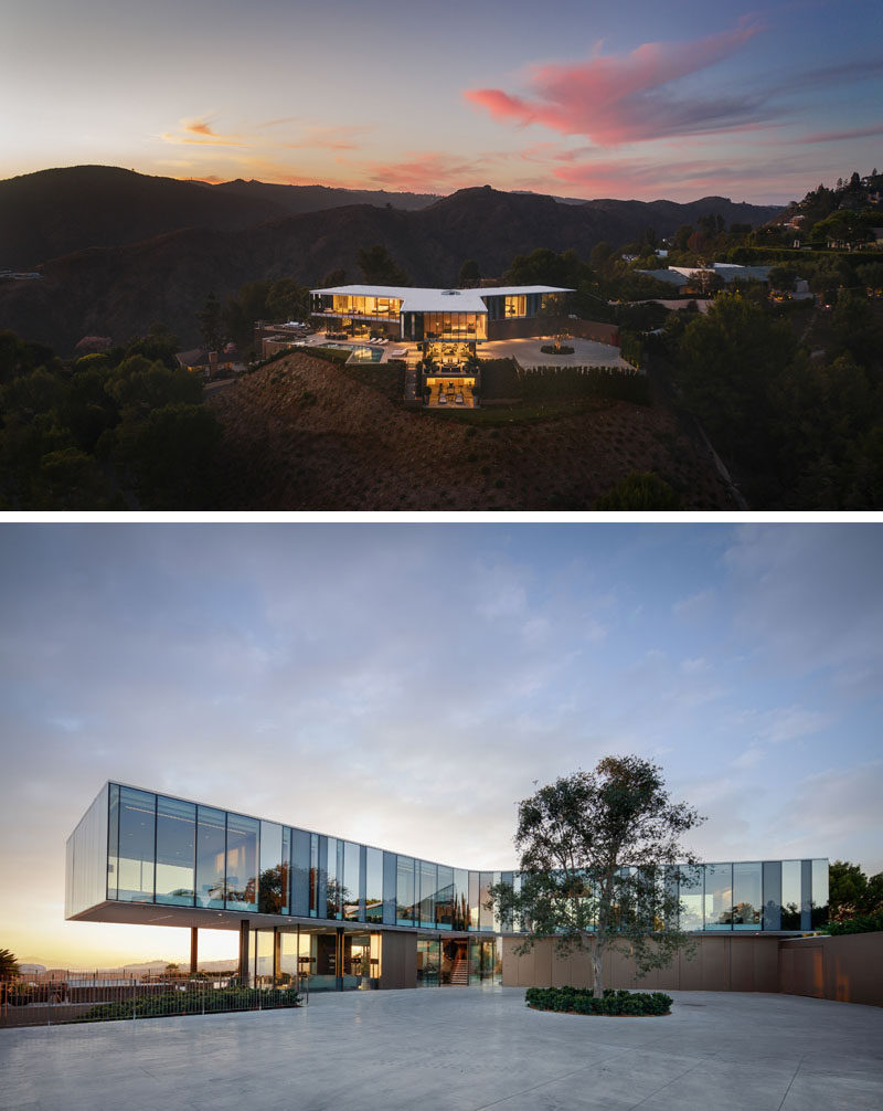 SPF:architects (SPF:a) have recently completed the Orum Residence, a three-level home in Bel-Air, California, that takes on the shape of a three-winged propeller. #ModernHouse #GlassWalls #ModernArchitecture